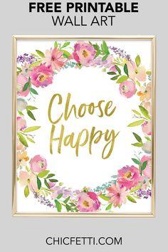 Choose Happy Wall Art : Printable Wall Art - Printable wall decor and poster prints for your home Frames On Wall, Framed Wall Art, Wall Art Decor, Room Decor, Cactus Wall Art, Cactus Print, Free Printable Art, Free Printables, Printable Banner