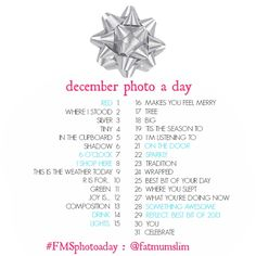 'Tis the season to play photo a day: Check out the December challenge list - Fat Mum Slim