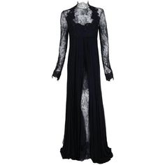 2010 Rafael Cennamo Couture Black Beaded Lace-Illusion Gothic Trained... ($1,770) ❤ liked on Polyvore featuring dresses, gowns, goth dress, beaded lace gown, beaded gown, lace ball gown and couture dresses