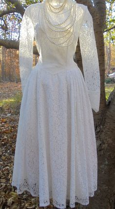 Fifties  wedding dress ivory lace  tea length by vintageopulence