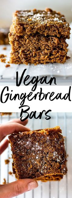 These vegan gingerbread bars are sweet, sticky, easy to make, and wonderfully festive. #gingerbread #cookiebars #veganbaking #Christmasrecipe #Christmasbaking