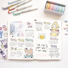 - ̗̀ 17 08 18 ̖́- Got graphic designer job in KG branch of Dodo Pizza 🙌🏻 It's kinda popular pizza chain in CIS and it's been a shock to… Bullet Journal Aesthetic, Bullet Journal Writing, Bullet Journal Spread, Bullet Journal Ideas Pages, Bullet Journal Layout, My Journal, Bullet Journal Inspiration, Cute Scrapbooks, Planner