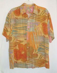JAMS-WORLD-Surf-Line-Hawaiian-Mens-Rayon-Short-Sleeve-Aloha-Shirt-Size-L