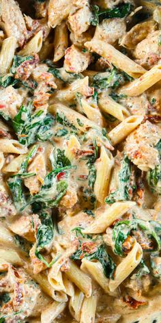 This Creamy Tuscan Chicken Pasta is so deliciously flavored. Garlicky and cheesy its easy to make and takes only 30 minutes. Chicken Pasta Dishes, Tuscan Chicken Pasta, Cheesy Chicken Pasta, Creamy Pasta Dishes, Italian Pasta Dishes, Healthy Chicken Pasta, Creamy Chicken, Alfredo Chicken Pasta, Pasta Recipes With Chicken