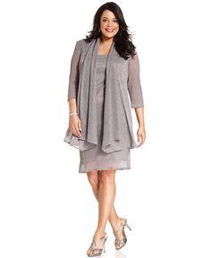R&M Richards Plus Size Sleeveless Metallic Dress and Jacket - Dresses - Plus Sizes - Macy's