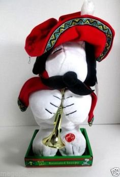 Snoopy Animated Mexican Musical Christmas Plush with Trumpet Gyrates and Plays Feliz Navidad * Be sure to check out this awesome product.