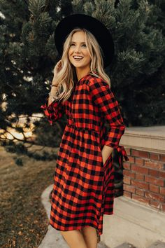 """Red + Black Buffalo Plaid Dress 3/4 Sleeves w/Ribbon Tie Cuff Hidden Seam Pockets Button Up Front Gathered Waist Nursing Friendly View Size Chart Model is 5'9"""" + Wearing a Small"""