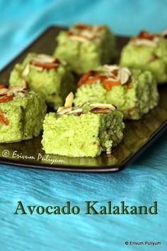 Erivum Puliyum: Avocado Kalakand - A twist to regular kalakand for 1 million page views :) Dessert Recipes For Kids, Indian Dessert Recipes, Indian Sweets, Indian Snacks, Healthy Dessert Recipes, Sweets Recipes, Snack Recipes, Cooking Recipes, Indian Recipes