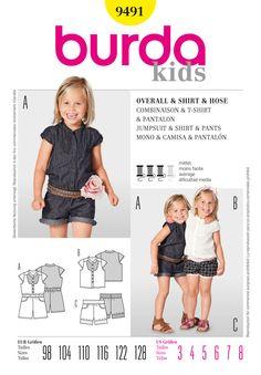 Burda Kids 9491 jumpsuit, shirt, pants