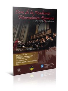 Cartel del concierto del Coro de la Academia Filarmónica Romana. Xunta de Galicia.