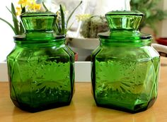 vintage green canisters wheaton via Etsy