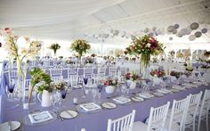 marquee wedding table set up