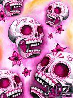 Pink Sugar Skulls by FearDaKez