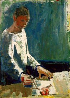 """David Park - Boy Painting, 1957, 50x36""""   Hackett Mill Gallery  http://www.hackettmill.com/#/artist/56"""