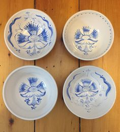 Set of 4 Painted Porcelain Bowls by VAceramics on Etsy