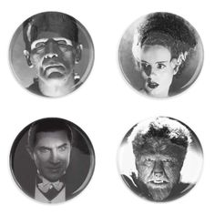 A pin set inspired by Classic Hollywood movie monsters. Order separately or as a set. Each pin back button measures approximately inches in diameter and has a metal back with pin. Jacket Patches, Classic Hollywood, Monsters, Buttons, Movies, Accessories, Art, Art Background, Films