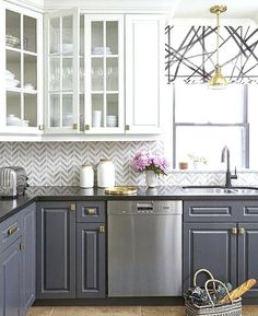 Image result for black countertop gray cabinets