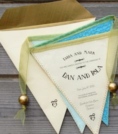 Bunting Wedding Invitation in Fabric and Paper for Rustic-Vintage Wedding. £75.00, via Etsy.