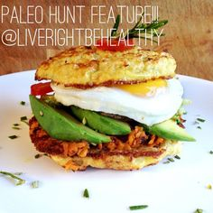 Hey there Pinterest fam! Here is another transmission from the #paleohunt #instagram feed:   SWEET POTATO HASH with EGG and AVOCADO on a CAULIFLOWER BUN.  #paleo #breakfast