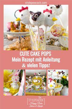 Niedliche Cake Pops. Nicht nur zu Ostern sind die putzigen Kuchen-Lollis ein tolles Mitbringsel und eine süße Leckerei! Rezept und viele Tipps mit einem Klick! #cakepops #backen #osterbäckerei #ostern #easter #baking #osterlamm #backtipps #kuchen #cake Cake Pops Form, Foodblogger, Fabulous Foods, Cute Cakes, Cakepops, Lifestyle Blog, Group, Board, Interior