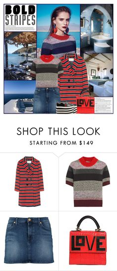 """Big, Bold Stripes"" by kittyfantastica ❤ liked on Polyvore featuring J.Crew, Bottega Veneta, 7 For All Mankind, Les Petits Joueurs and Gucci"