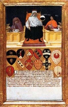 Benvenuto di Giovanni - Il Buon Governo nell'ufficio della gabella - 1474 - tempera su tavola -  Archivio di Stato, Siena