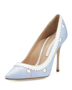 X3A9F Manolo Blahnik Plataia Snakeskin Pointed-Toe Pump, Light Blue/White