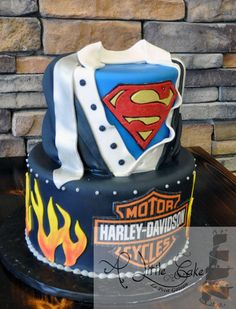 Superman and Harley-Davidson Groom Cake - Cake by Leo Sciancalepore