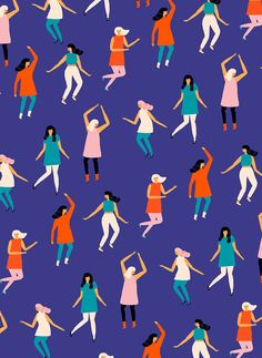 People pattern by Naomi Wilkinson #surfacepattern #blue