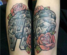 Star Wars Millennium Falcon Tattoo - Isaac Wiseman http://tattoosgeek.com/star-wars-tattoos/star-wars-millennium-falcon-tattoo/