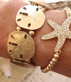 Gold Sandollar stretch bracelet