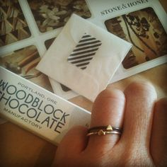 Loving my rehabbed ring from Stone & Honey, and a little extra shiny friend to wear with it! Also, dark chocolate made in Portland. It's a good mail day.