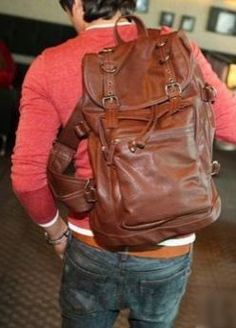 Vintage Leather Backpack Casual Genuine Soft Leather