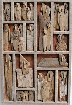 Driftwood Wall Art, Driftwood Projects, Driftwood Sculpture, Sculpture Art, Sculptures, Objets Antiques, Assemblage Art, Wooden Art, Recycled Art