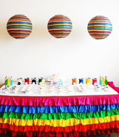 Another art party.  Love the rainbow table skirt.