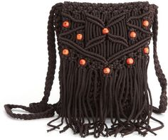 ShopStyle: Beaded Macrame Cross-Body Bag