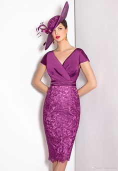Two Piece Jacket Lace 3/4 Long Sleeve Sheath Mother of the Bride Dresses Wedding Purple Cabotine Stain V Neck Knee-Length Groom Formal Gowns
