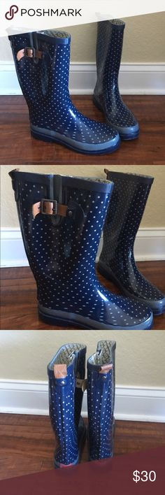 Navy Polka Dot Rain Boots Chooka (from DSW) rain boots, women's size 9 (they fit like a 9.5/10 though). Worn only once! The have brown buckle detail on the outside of each boot (they're adjustable!). Navy blue with light blue polka dots and light blue stripe detail along the bottom edge. Reasonable offers always welcome! :) Chooka Shoes Winter & Rain Boots