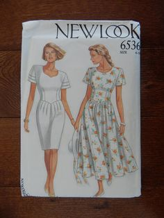 Womens Dress Sewing Pattern V Shaped Waist/ New Look 6536/ Size 6- 8- 10- 12- 14- 18/ Sweetheart Neckline, Calf Length, Knee Length/Uncut by RedWickerBasket on Etsy