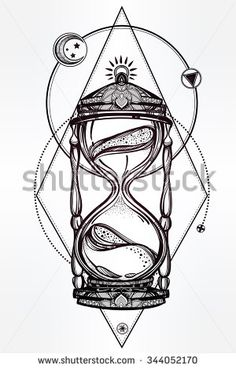 Hand drawn romantic beautiful drawing of a hourglass. Vector illustration isolated. Tattoo design, mystic time symbol for your use. - stock vector