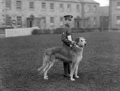 1917 A young member of the Irish Guards at Waterford Barracks with the regiment's mascot, an Irish Wolfhound. IMAGE: NATIONAL LIBRARY OF IRELAND