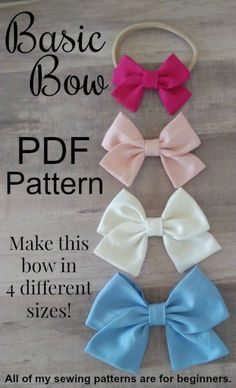 Bow PDF pattern bundle, school girl bow pattern, sailor bow pattern Important Note: If you purchase my patterns and you cannot see your files, please UPDATE YOUR APP before messaging me. I don't have time to email files as these fil Fabric Hair Bows, Ribbon Hair Bows, Diy Hair Bows, Diy Bow, Ribbon Flower, Fabric Flowers, Crochet Hair Bows, Ribbon Diy, Bow Hair Clips