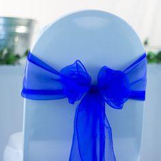 Royal Blue Organza Sash (27cm x 300cm) - 10 Pieces from My Wedding Store