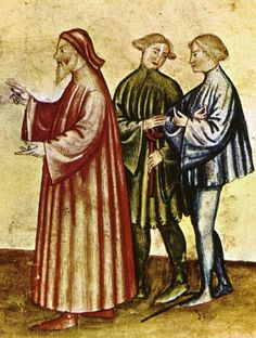 Men's gowns Older man (chiding an indiscreet young woman, see image below) wears a long, loose houppelande. The fashionable young men wear short tunics, one with dagged edges. The man on the right wears shoes with long pointed toes, late 14th century.