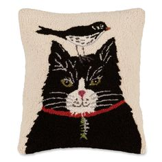 This pillow would make the perfect gift for the one on your list who might just be a cat and bird lover.