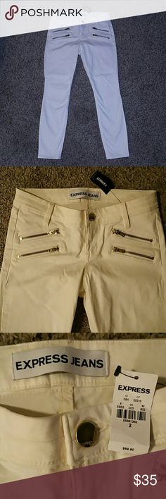 *NWT* Express Ankle Legging Jeans New with Tags Express Ankle Legging Jeans, Stella Low Rise -gold zippers-stretchy jeans- Size: 2, Color: Off-White 97% Cotton/3% Spandex Express Jeans Skinny