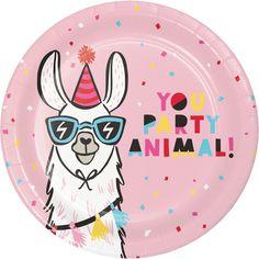 Llama Dinner Plates, Set of Desert Party, Outdoor Party, Fiesta Party Llama Birthday, Unicorn Birthday Parties, Girl Birthday, Birthday Bash, Birthday Ideas, Animal Birthday, Fourth Birthday, Happy Birthday Gifts, Happy Birthday Banners