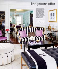 Black an gold accents pack the drama into this eclectic living space.