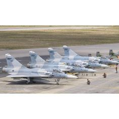 Brazilian Air Force Mirage 2000 aircraft at Natal Air Force Base Brazil Canvas Art - Giovanni CollaStocktrek Images (37 x 22)