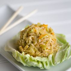 This cabbage fried #rice takes less than 30 minutes & is a great way to use up left-over rice. It has fabulous Asian-inspired flavor.